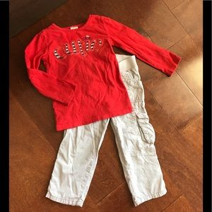 Gymboree Long sleeve shirt with carters kaki pants